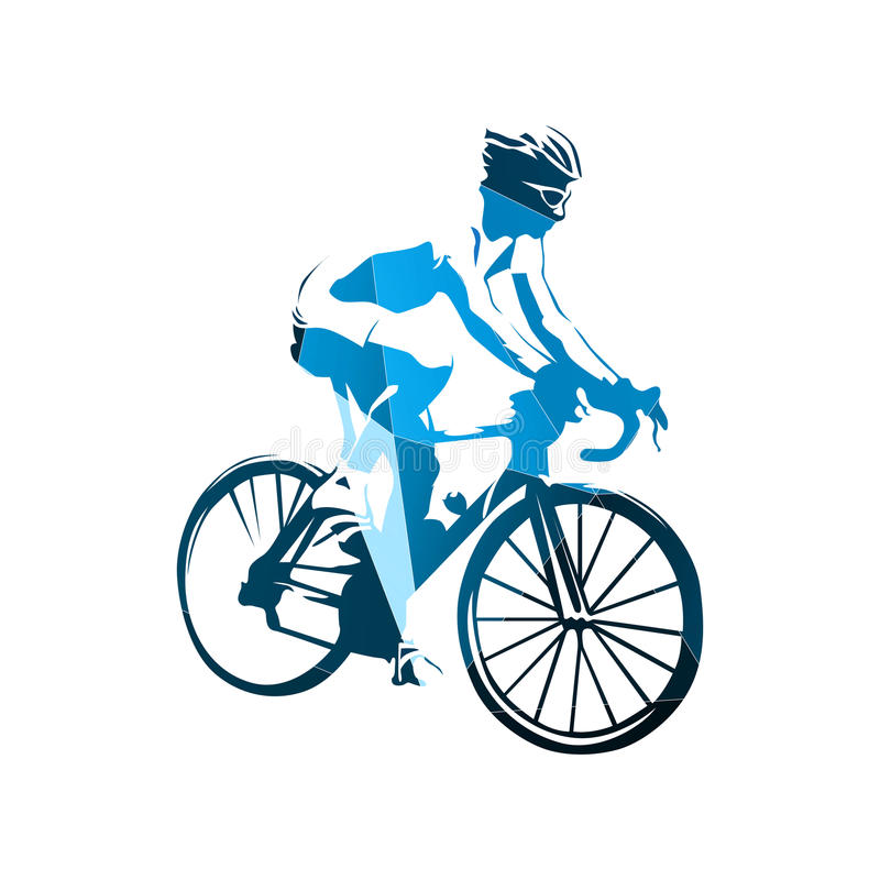 Road cycling, abstract geometric blue cyclist stock illustration