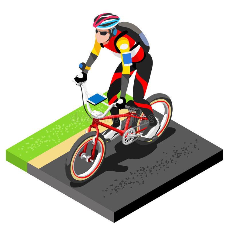 Road Cycling Cyclist Working Out.3D Flat Isometric Cyclist on Bicycle. Outdoor Working Out Road Cycling Exercises. Cycling Bike vector illustration