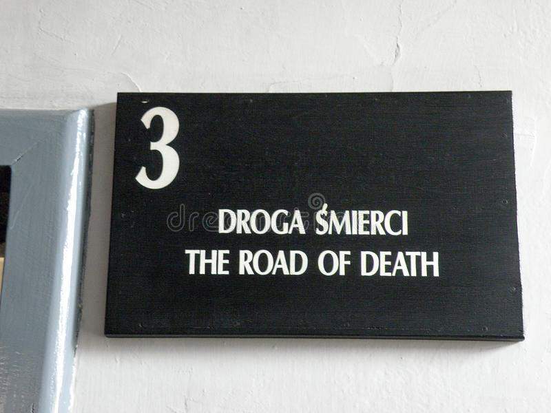 The Road of Death Sign in Auschwitz Concentration Camp. Museum royalty free stock photography