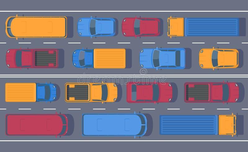 Road dence traffic on motorway or highway. Different car on road. Traffic jam. vector illustration