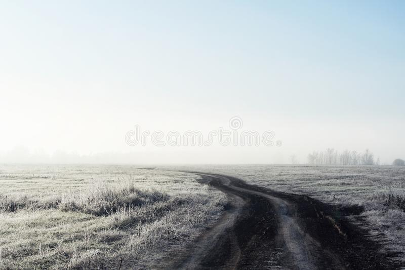 The road in dense fog through the field early winter morning. royalty free stock photo