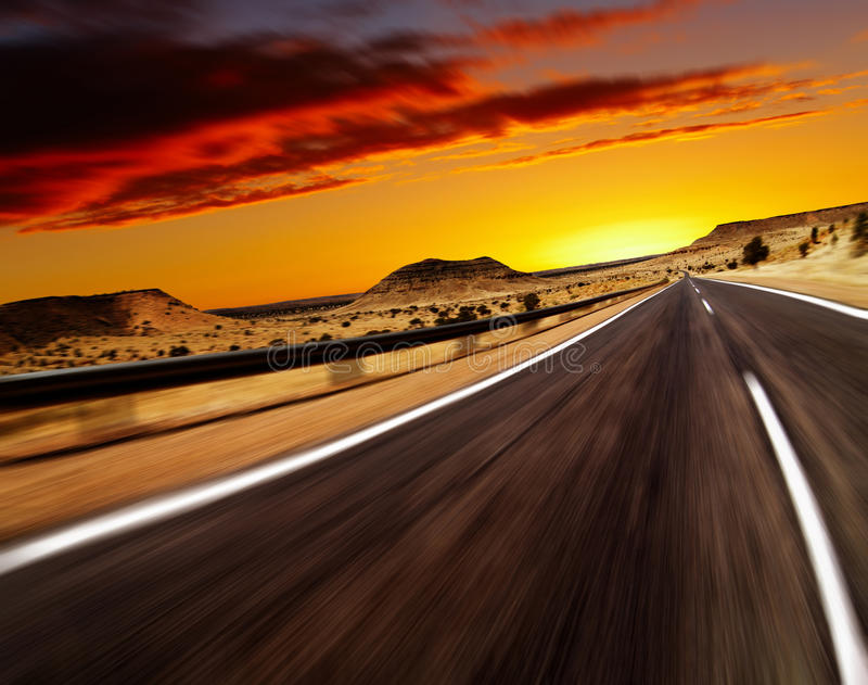 Road in desert. With motion blur