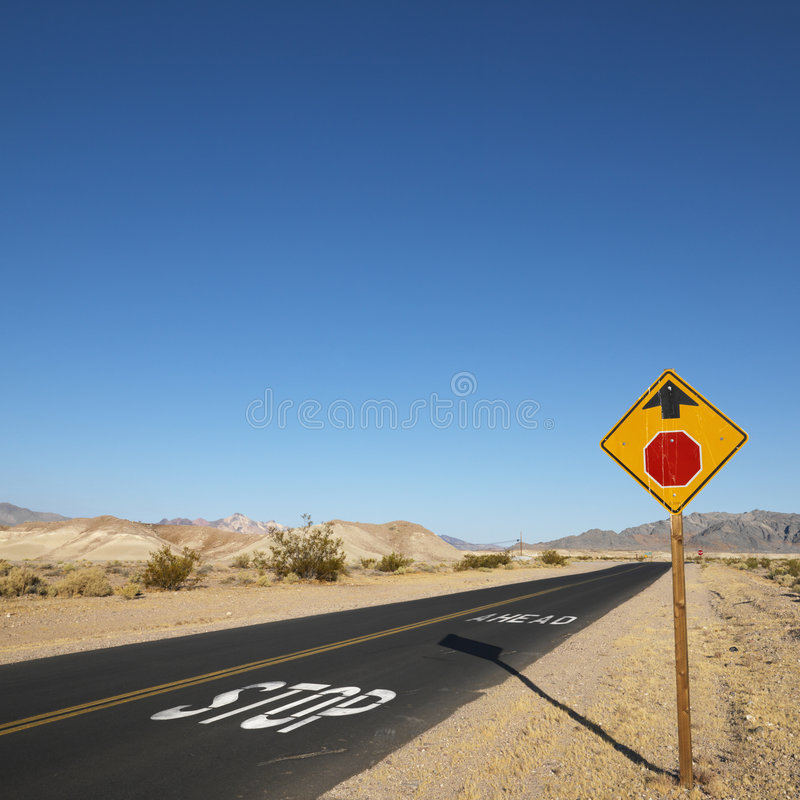 Road in desert. stock image