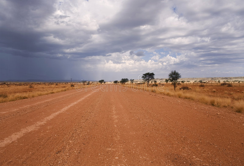 Road on a desert in Africa royalty free stock photos