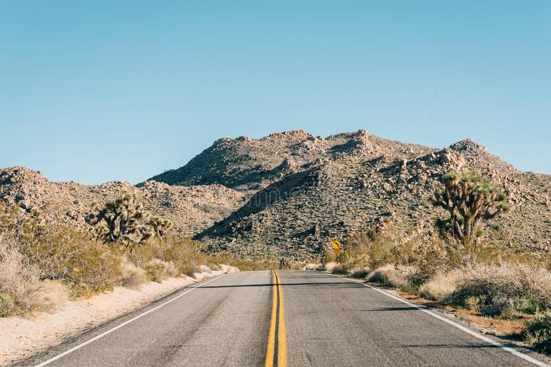 Road in the desert, in Joshua Tree National Park, California.  royalty free stock image