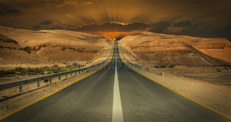 Road in desert of the Negev, Israel royalty free stock photography