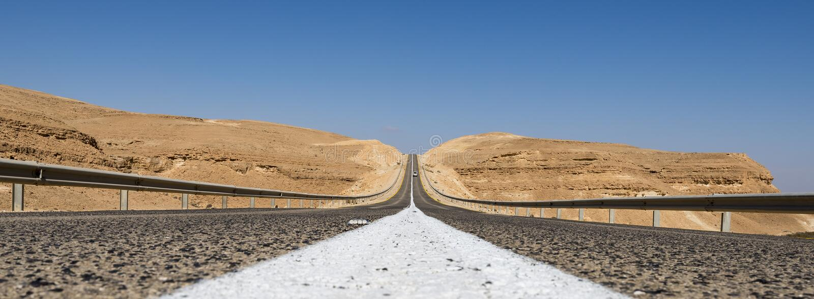 Road in desert of the Negev, Israel royalty free stock images