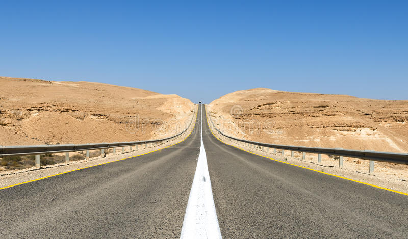 Road in desert of the Negev, Israel stock images