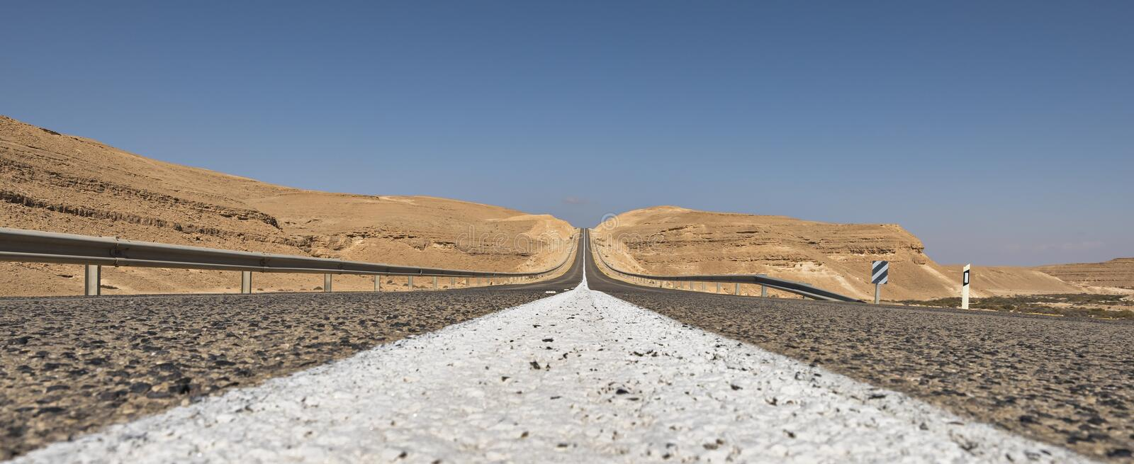 Road in desert of the Negev, Israel stock photo