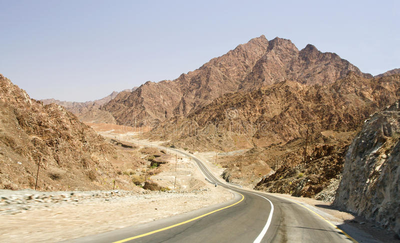 Road in desert Rub' al Khali, UAE royalty free stock photo