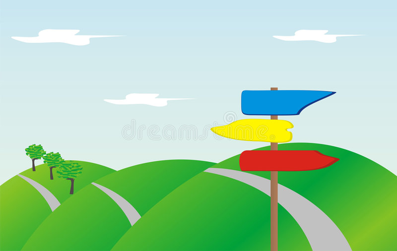 Road with direction signs royalty free illustration