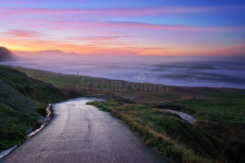 Road down to Azkorri beach royalty free stock photo