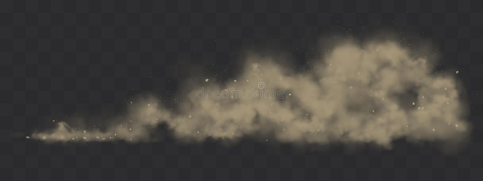 Road dust cloud from under the wheels. Road dust cloud from driving car or motorbike. Vector realistic splash of dirty powder, sand and stones under the wheels vector illustration