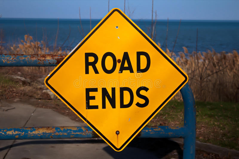 Road Ends. Abruptly on the shores of Lake Huron. A unique and beautiful dead end royalty free stock image