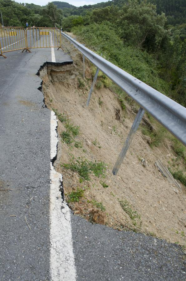 Road erosion. Road Collapse due to erosion royalty free stock photos