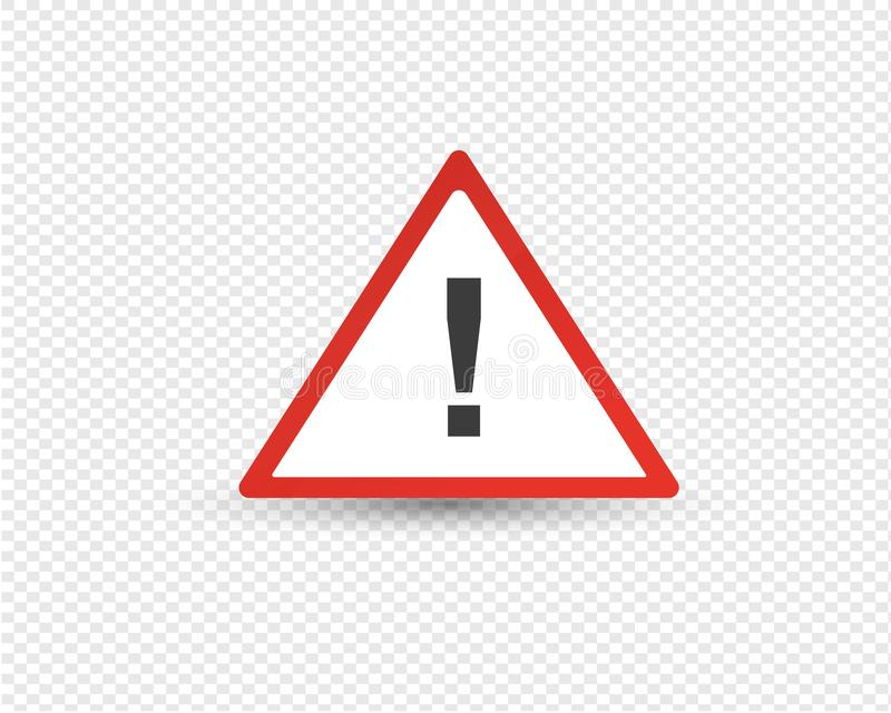Road exclamation point in red triangle, warning of other hazards. Road exclamation point in red triangle, warning of other hazards, element of traffic signal stock illustration