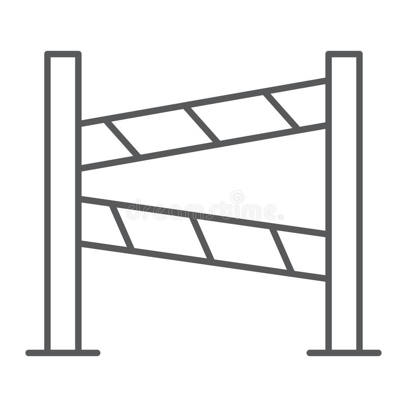Road fence thin line icon, construction and border, barrier sign, vector graphics, a linear pattern on a white vector illustration