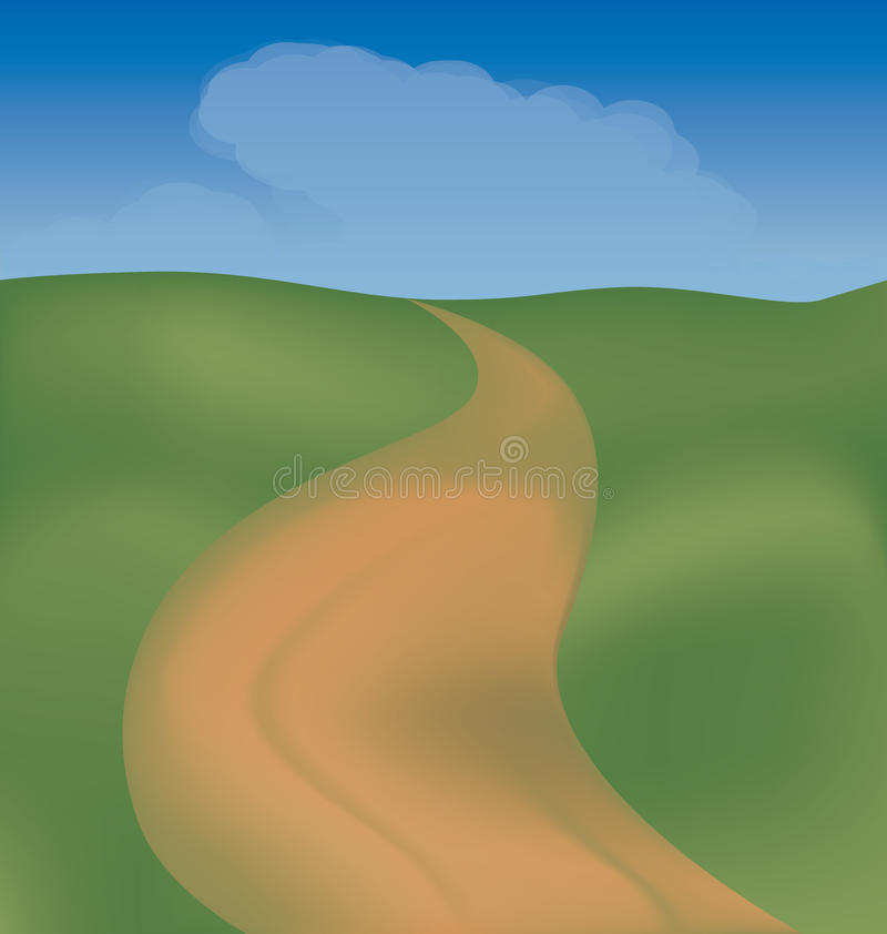 The road through the fields. The road among fields may serve to illustrate the journey, and can symbolize the prospect of human life vector illustration