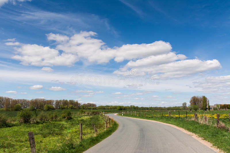 Road through the fields. On a sunny day with blue sky and nice clouds stock photography