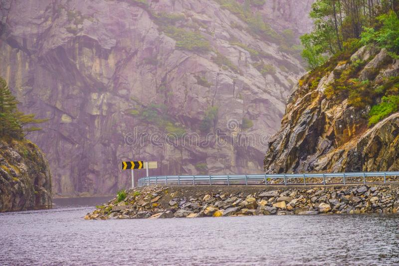 Road and fjord landscape in Norway stock image