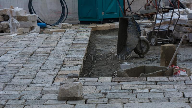 Road Floor Construction During The Remodeling Of The Roads Floor royalty free stock photos