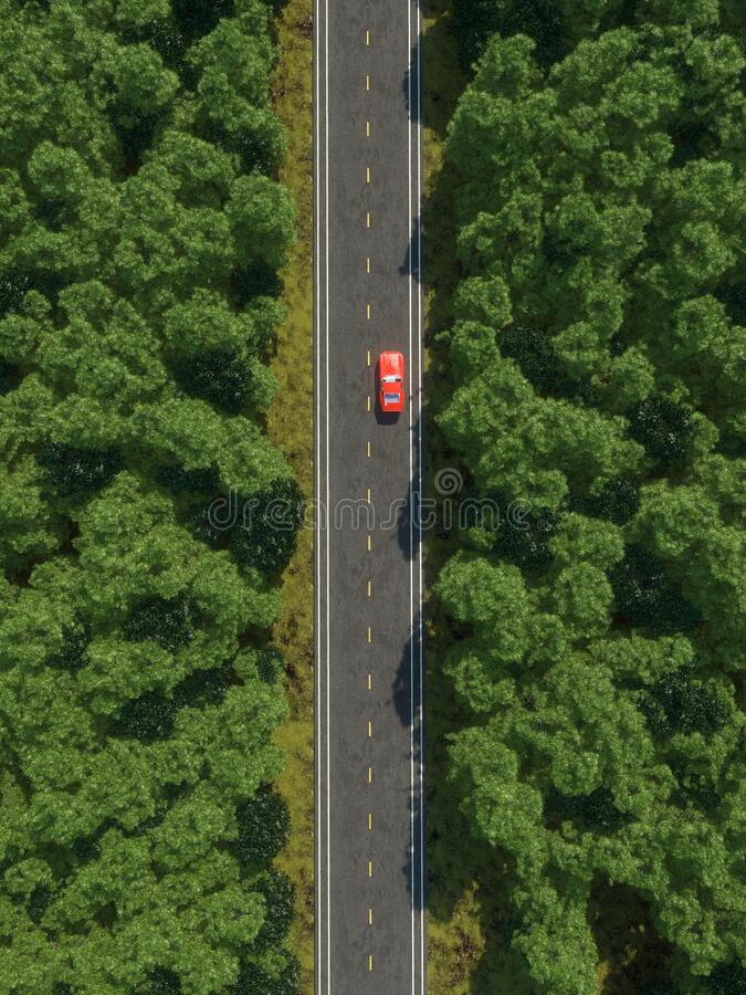 Aerial view of a car on the road in the forest . royalty free stock photography