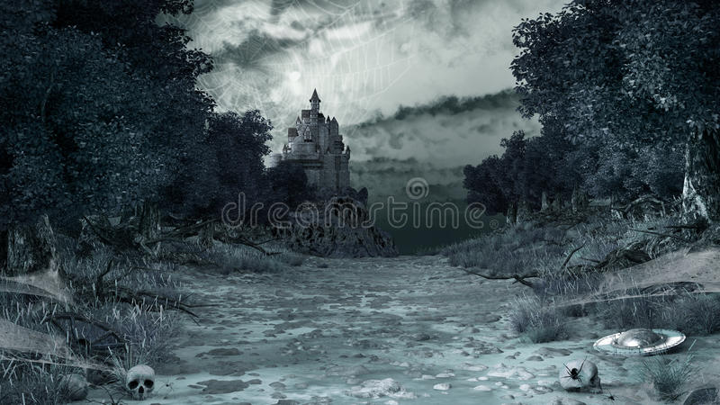 Road through the Forest of Spiders. Gloomy scenery with spiders, webs, skulls and castle stock illustration