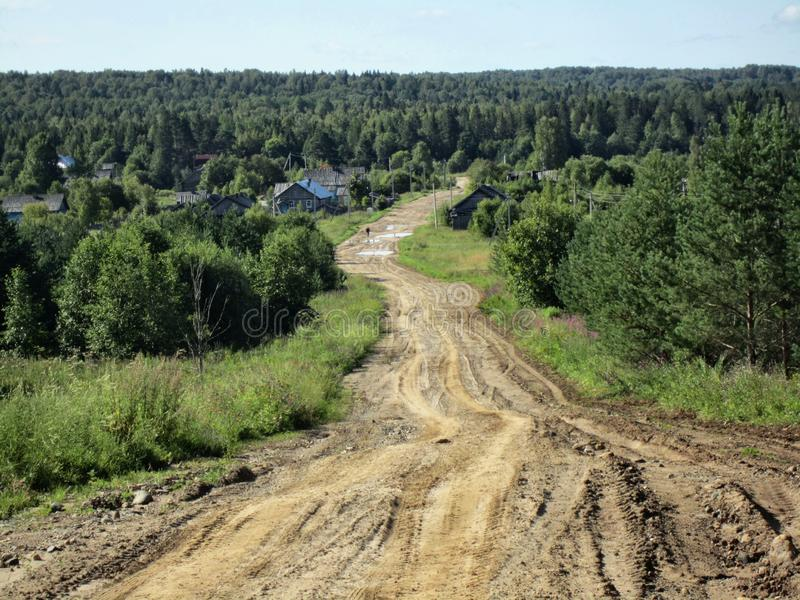 Road in the woods for tractors only. Road in the forest only for tractors leads to nowhere royalty free stock image