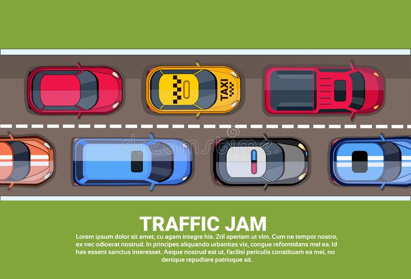 Road Full Of Different Cars Top Angle View of Traffic Jam On Highway. Flat Vector Illustration stock illustration