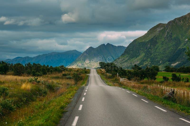 Road  in  Gimsoya, Lofoten Islands, Norway. Road in Gimsoya, Lofoten Islands, Norway royalty free stock image