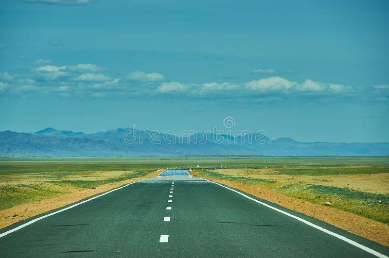 Road in Gobi Desert. Huysiyn govi, Mongolia royalty free stock photography