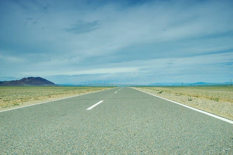 Road in Gobi Desert. Huysiyn govi, Mongolia stock image