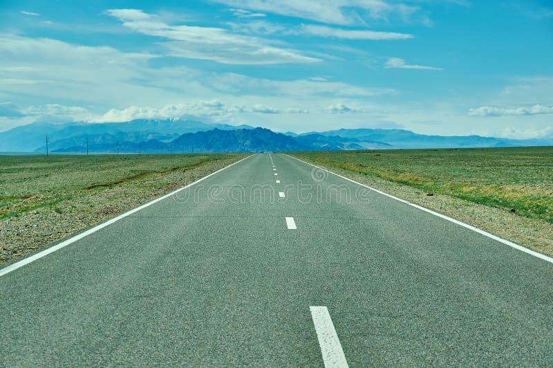 Road in Gobi Desert. Huysiyn govi, Mongolia royalty free stock images