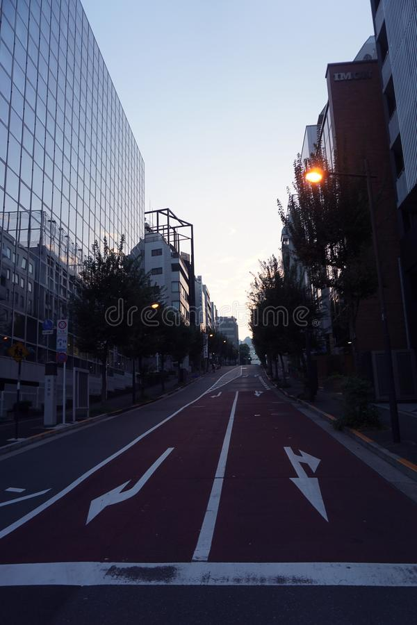 Road that goes into the distance. Evening walk in the streets of Tokyo royalty free stock image