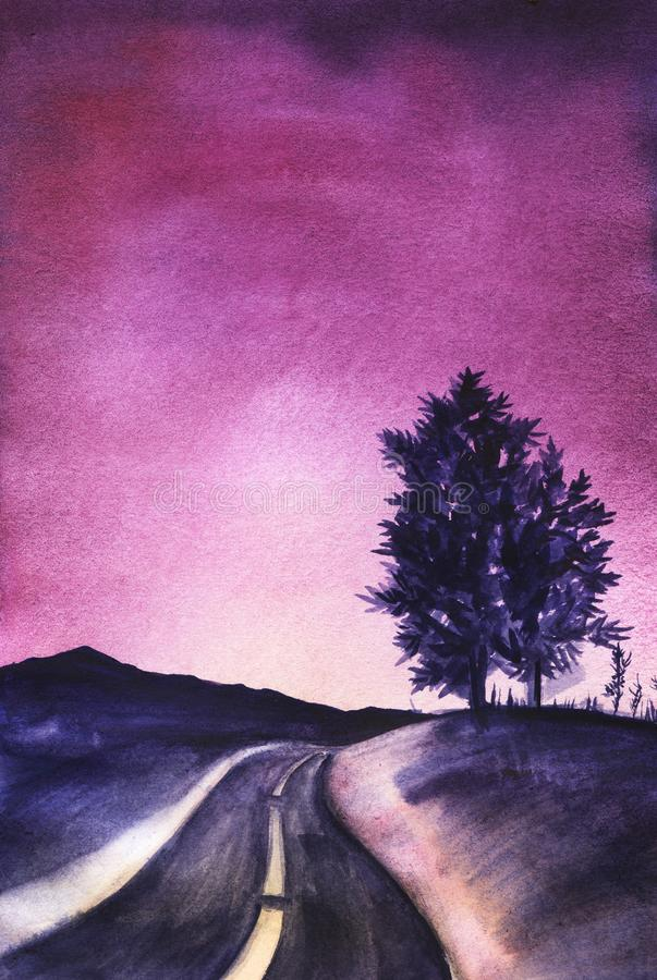 Dark blue silhouette of the mountains and two trees on a hill on a gradient sky from dark violet to bright purple. The road going far dark blue silhouette of royalty free illustration