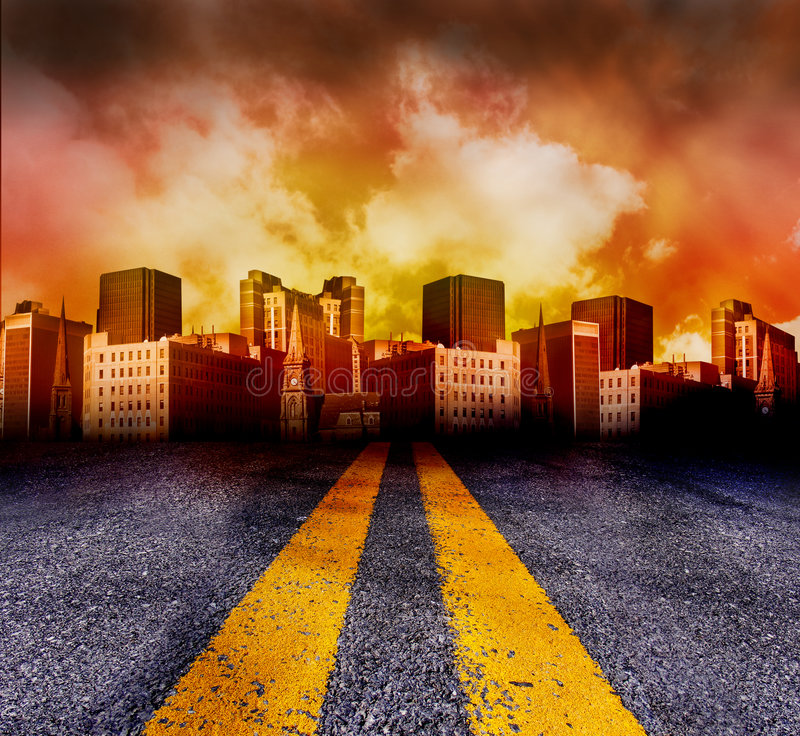 Free Road Going Into The City With Red Sunset Stock Photography - 9121122