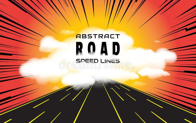 The road going to clouds and speed lines background. Effect motion lines for comic book and manga royalty free illustration