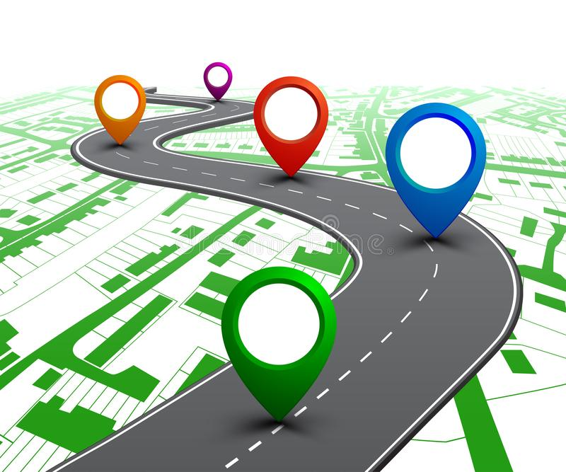 Road with GPS navigation on city map. Car road, street, highway roadmap infographics – vector. Road with GPS navigation on city map. Car road, street stock images