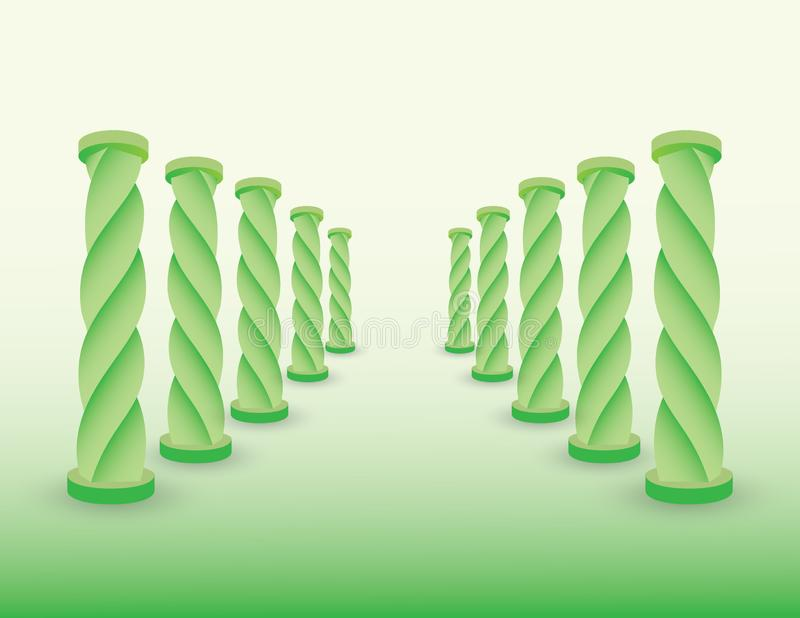 Road with green columns or pillars to show destination for success if life and business vector illustration vector illustration