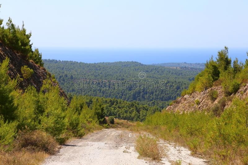 Road in the green hills of Sithonia in Greece. In the background the horizon line of the ocean and sky.  royalty free stock images