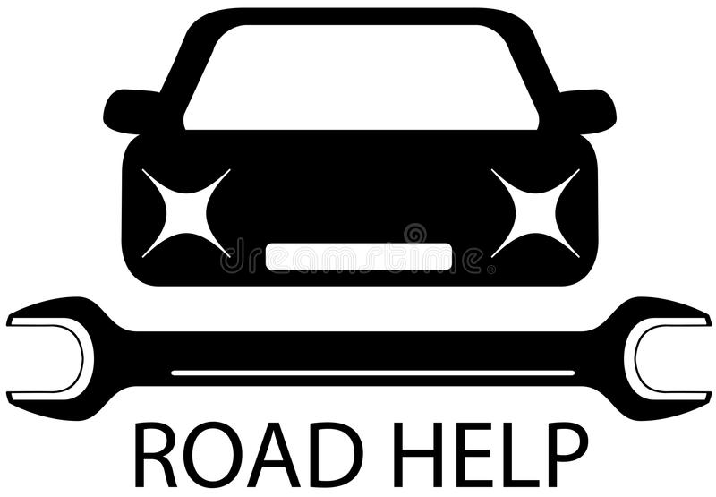 Road help sign with black car and tools for repair royalty free illustration