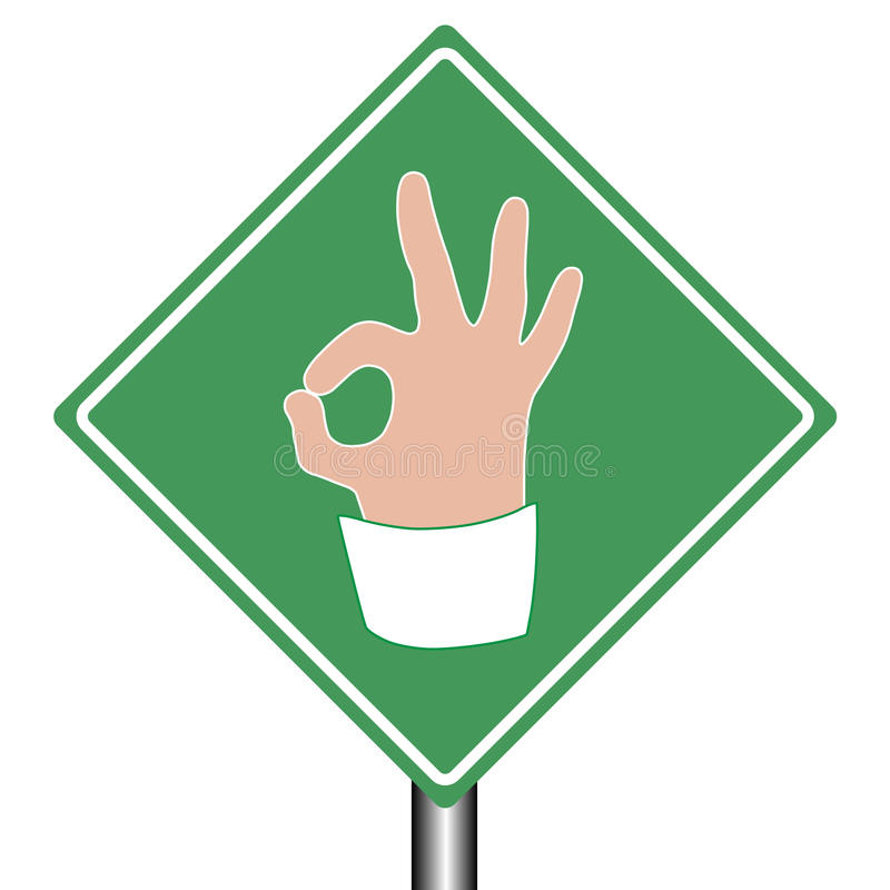 Road help sign ok as hand gesture. Female hand of a businesswoman gesturing ok as green road sign meaning business is ok, right way or choice, success, isolated vector illustration