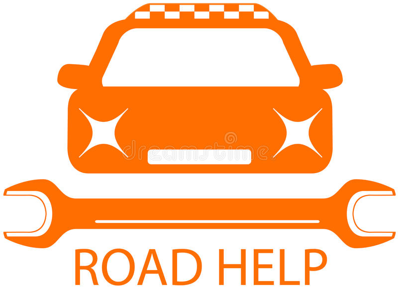 Road help sign with taxi car vector illustration