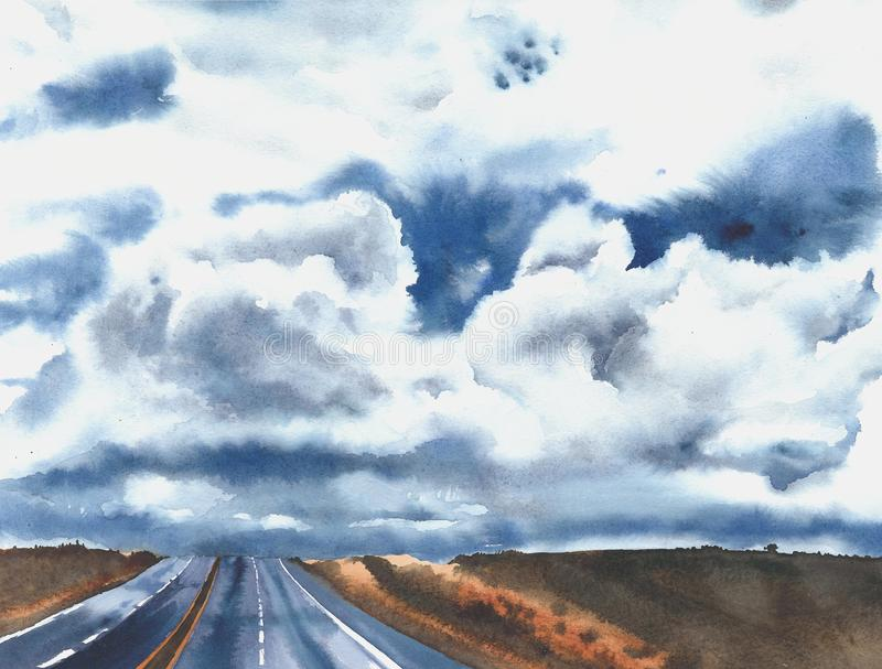 Road highway cloud sky countryside American roads freeway freedom vacation watercolor painting illustration. Road highway cloud sky countryside American roads stock illustration