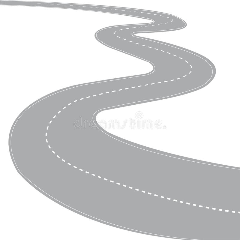 Road. Highway curved road with a fence stock illustration