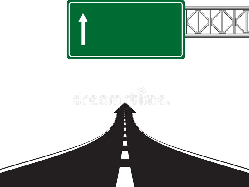 Road highway sign. Green board with arrow and road with markings. Vector illustration on white background vector illustration