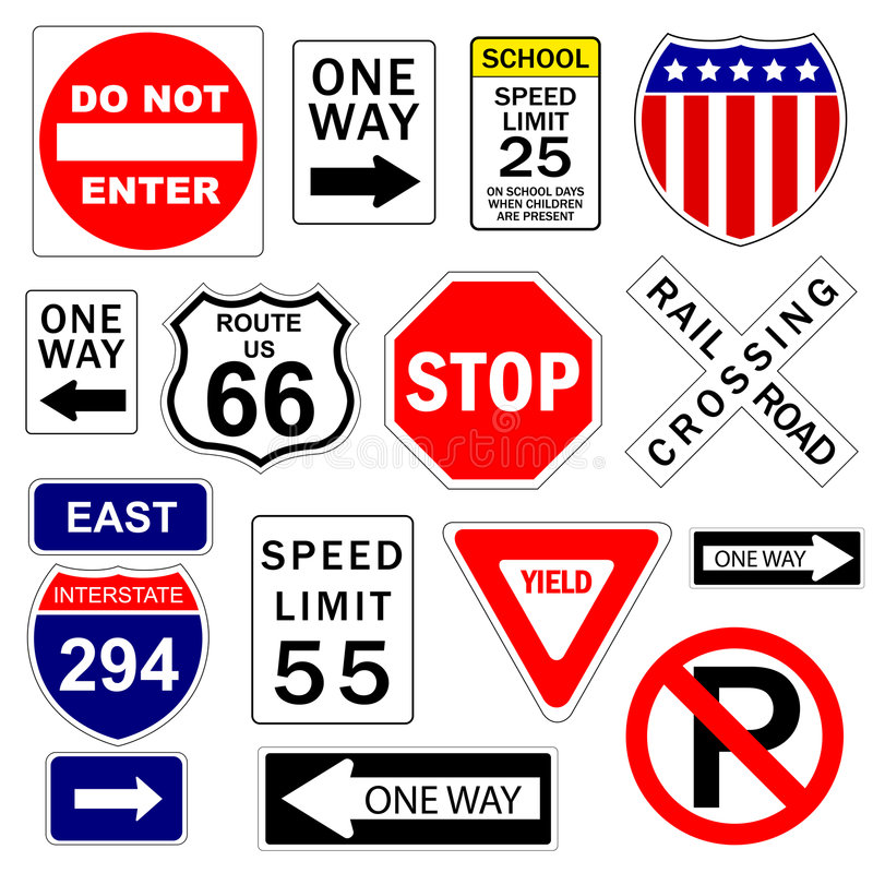 Road and highway signs. On the white background stock illustration
