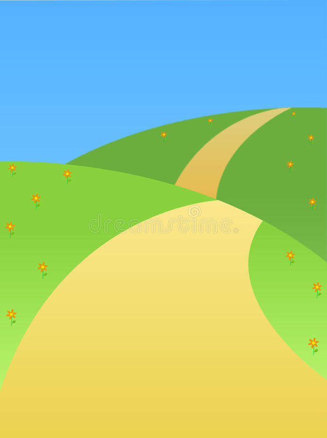 Download Road on a hill stock illustration. Image of grass, orange - 10423729