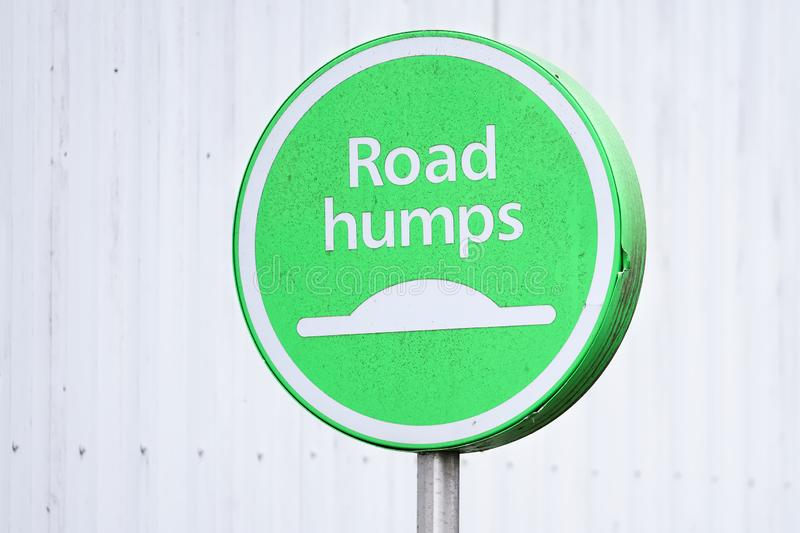 Road humps safety sign for cars and all vehicles stock photos