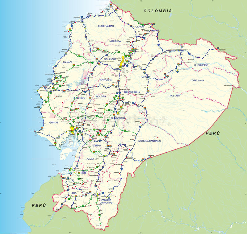 Road And Hydro Graphical Map Of Ecuador With The Main Roads